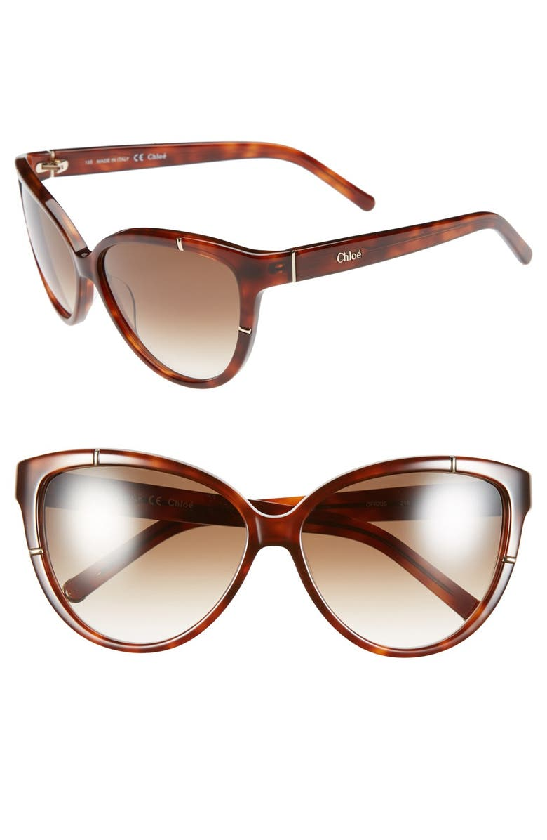 CHLOÉ 59mm Cat Eye Sunglasses, Main, color, 201