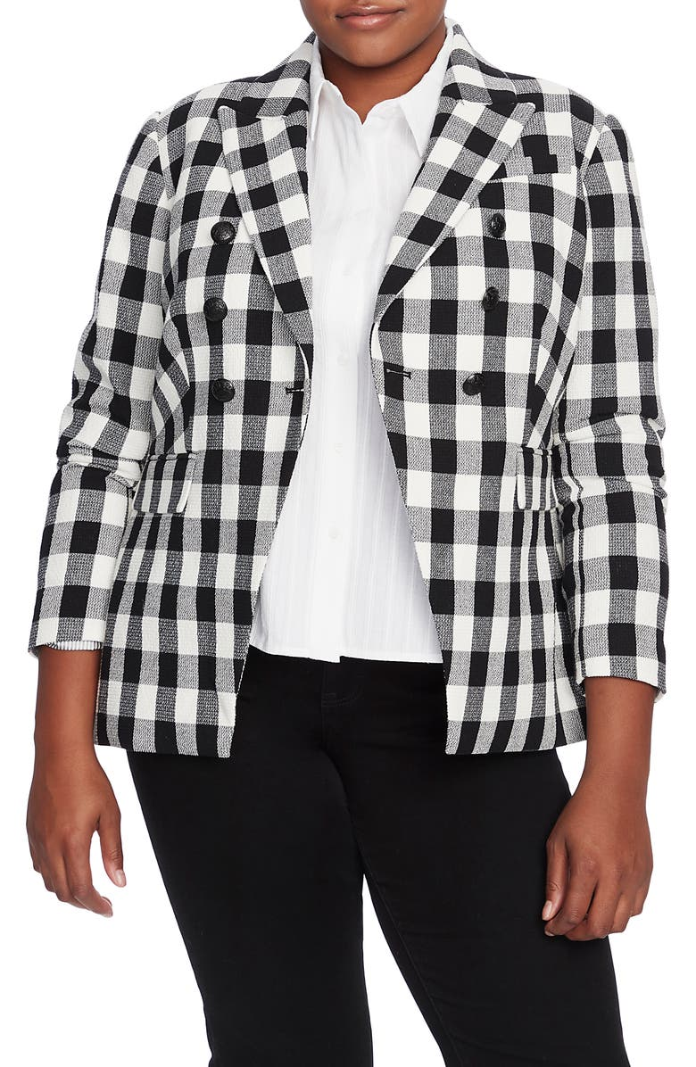 COURT & ROWE Textured Gingham Cotton Blend Blazer, Main, color, 001