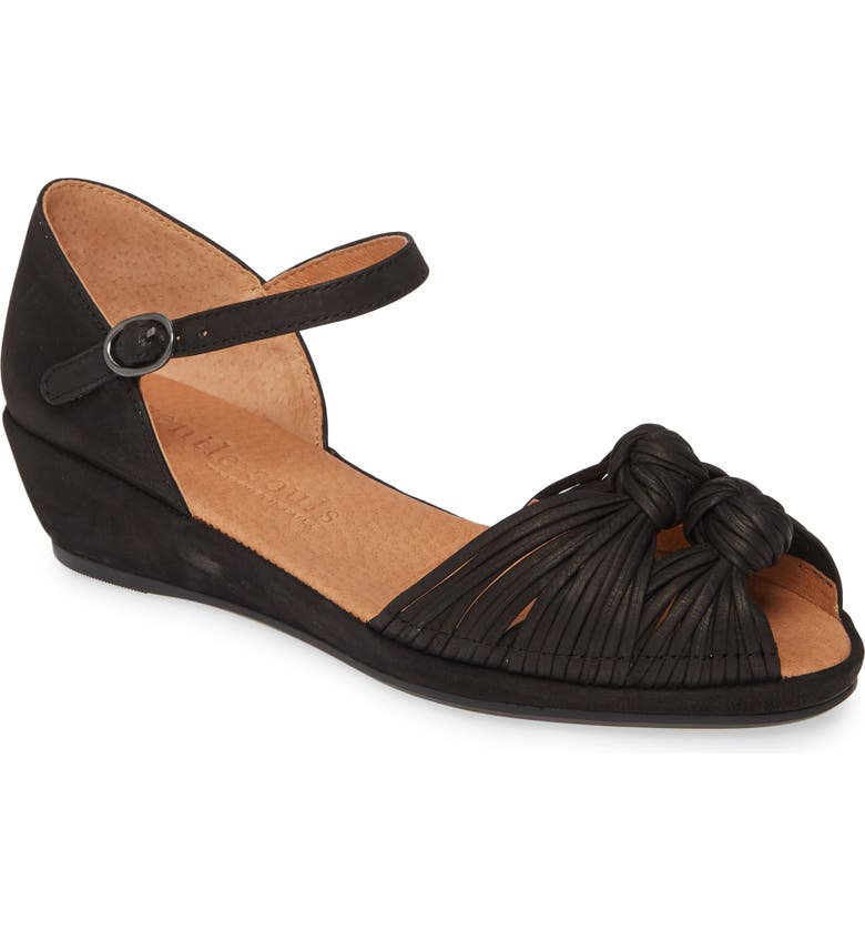 GENTLE SOULS BY KENNETH COLE Lily Knot Sandal, Main, color, BLACK NUBUCK LEATHER