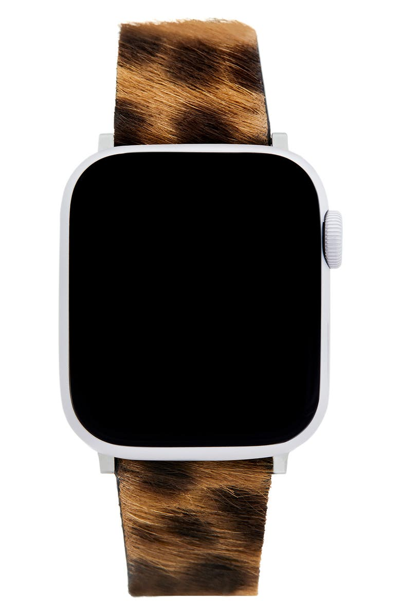 REBECCA MINKOFF Genuine Calf Hair Apple Watch<sup>®</sup> Strap, Main, color, LEOPARD