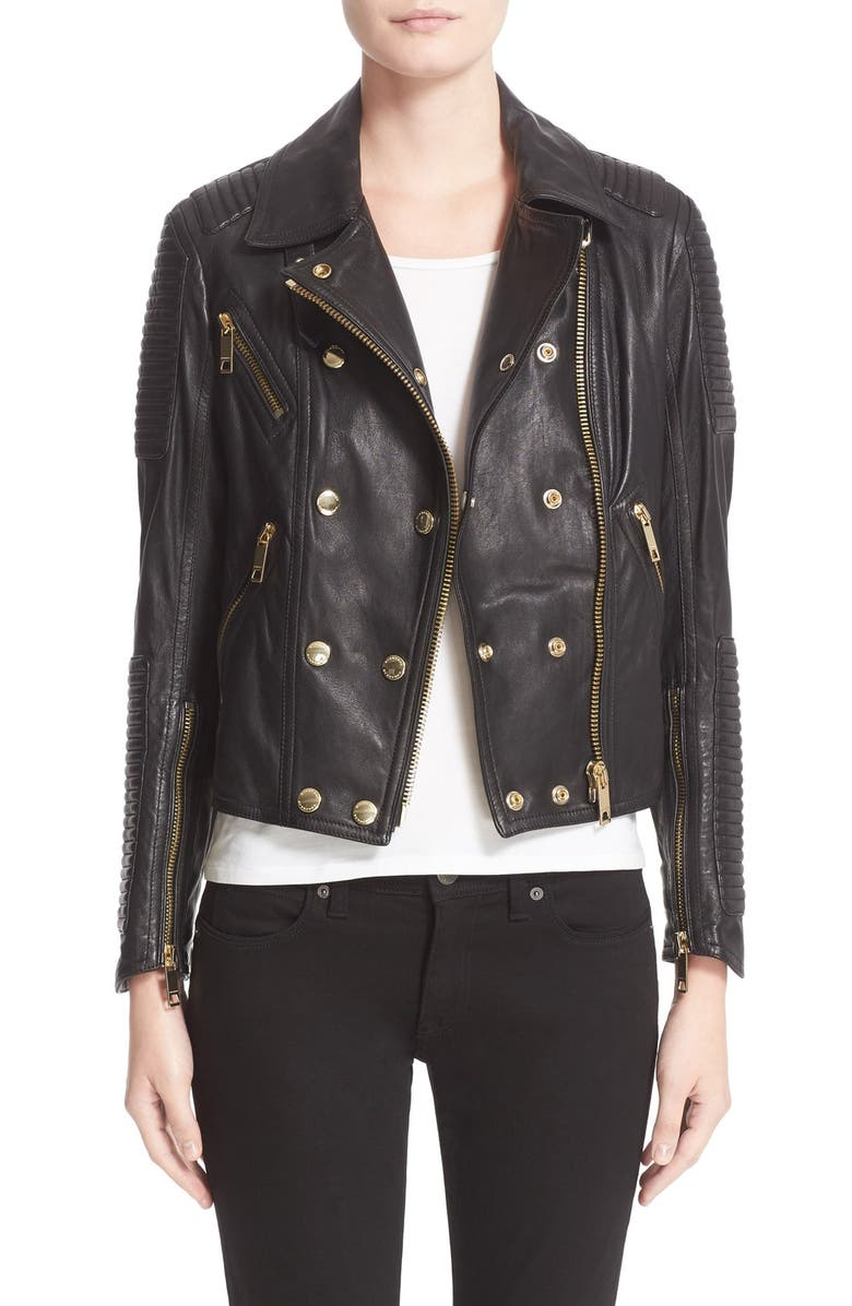 BURBERRY BRIT 'Colefield' Double Breasted Leather Jacket, Main, color, 001