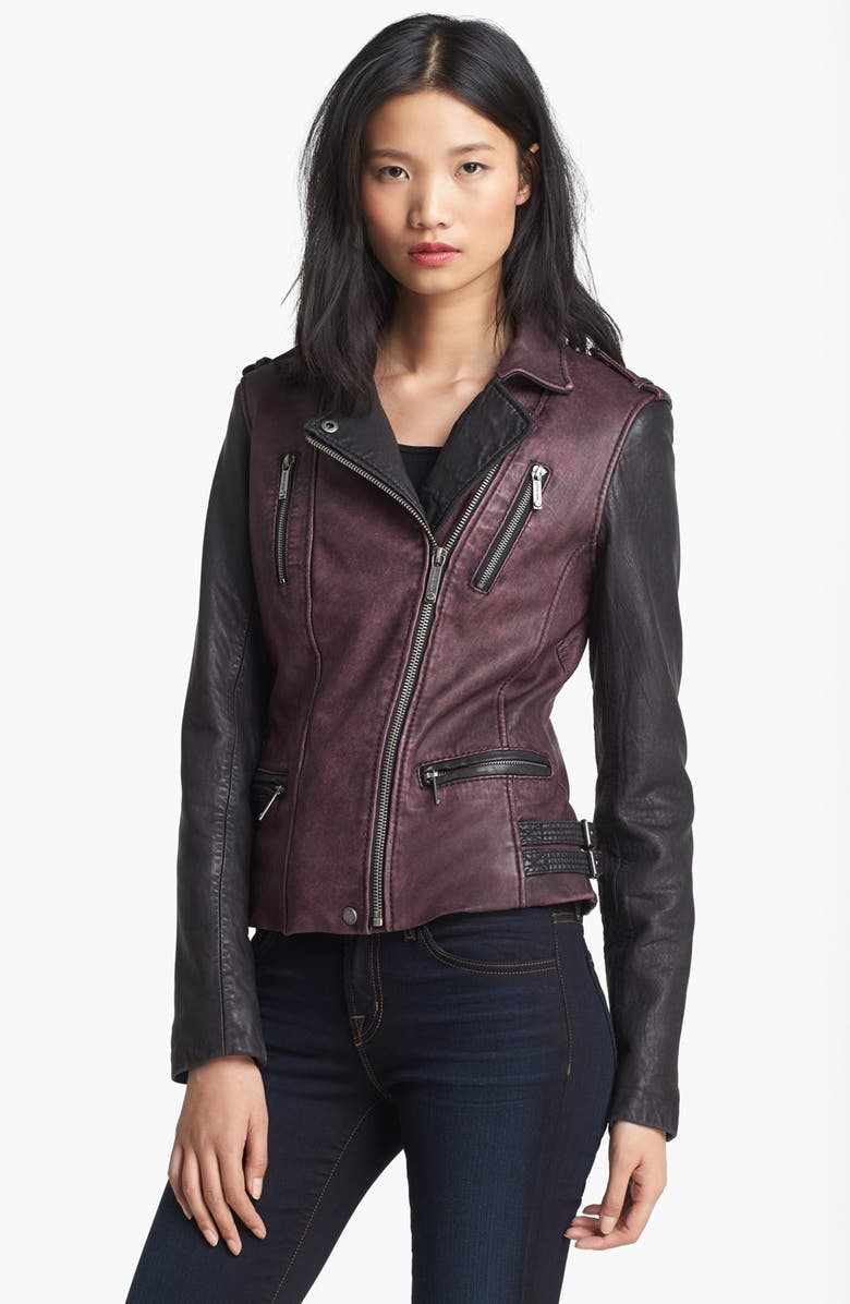 MICHAEL MICHAEL KORS Two Tone Washed Leather Jacket, Main, color, 930