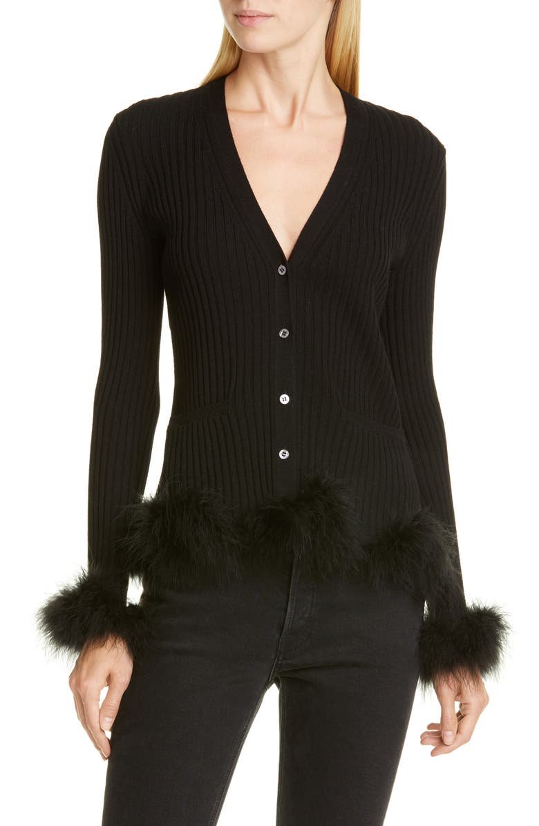 OPENING CEREMONY Rib Wool Cardigan with Feather Trim, Main, color, 001