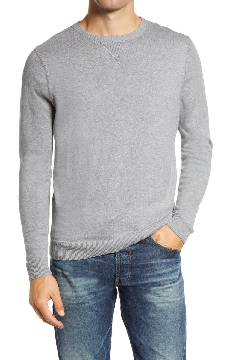 1901 Solid Crewneck Sweater, Main, color, GREY HEATHER