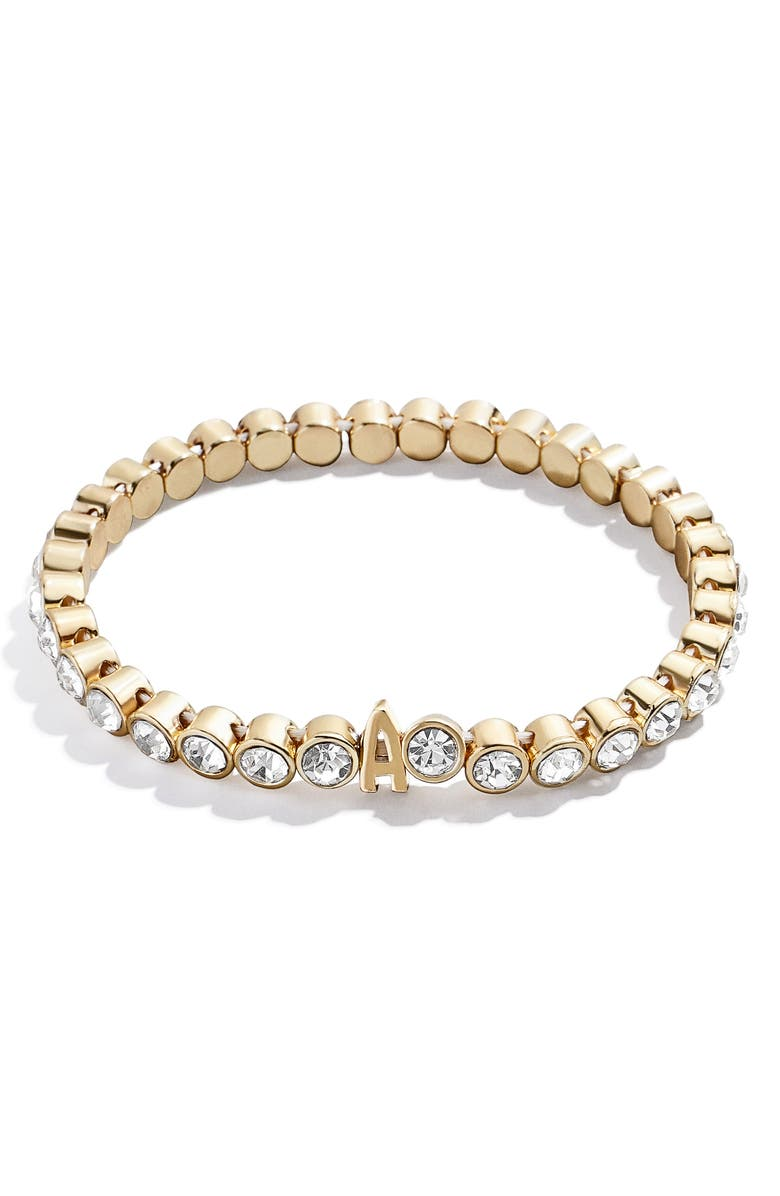 BAUBLEBAR Initial Crystal Beaded Stretch Bracelet, Main, color, GOLD-A