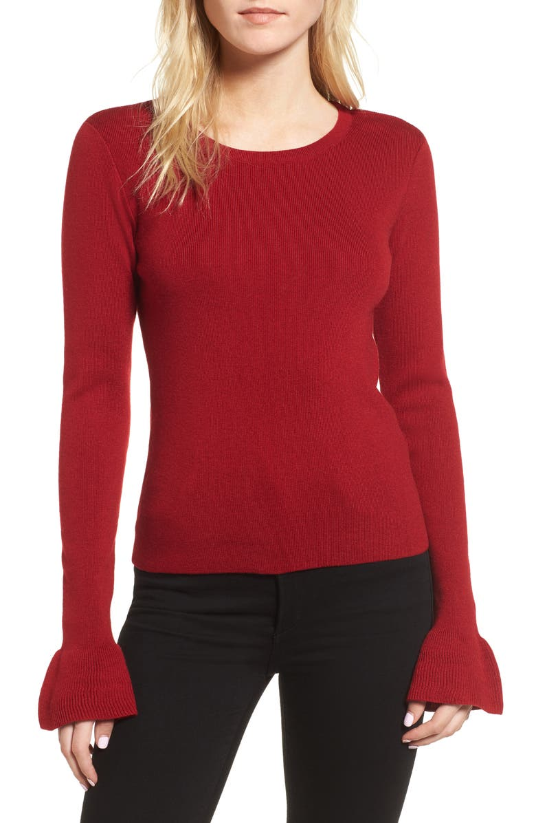 CUPCAKES AND CASHMERE Tina Ruffle Cuff Sweater, Main, color, 643