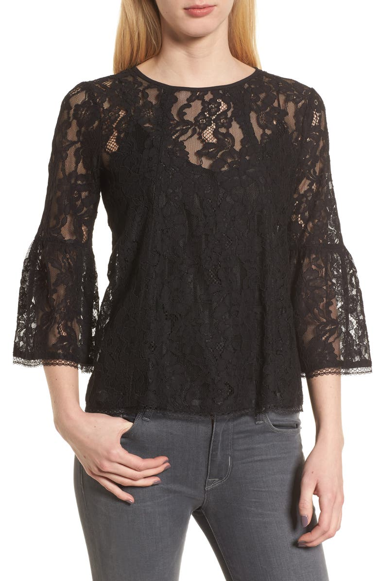 CHELSEA28 Bell Sleeve Lace Top, Main, color, BLACK