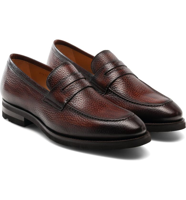 MAGNANNI Matlin Apron Toe Penny Loafer, Main, color, MID BROWN