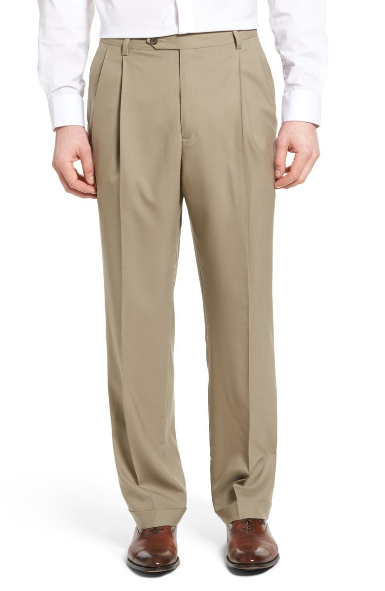 BERLE Lightweight Plain Weave Pleated Classic Fit Trousers, Main, color, TAN