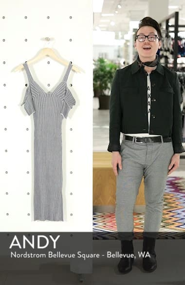 Cold Shoulder Ribbed Knit Body-Con Dress, sales video thumbnail