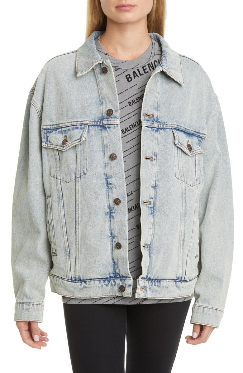 BALENCIAGA Back Logo Denim Jacket, Main, color, 400