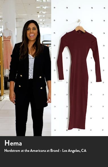 Snatched Ribbed Crewneck Long Sleeve Dress, sales video thumbnail