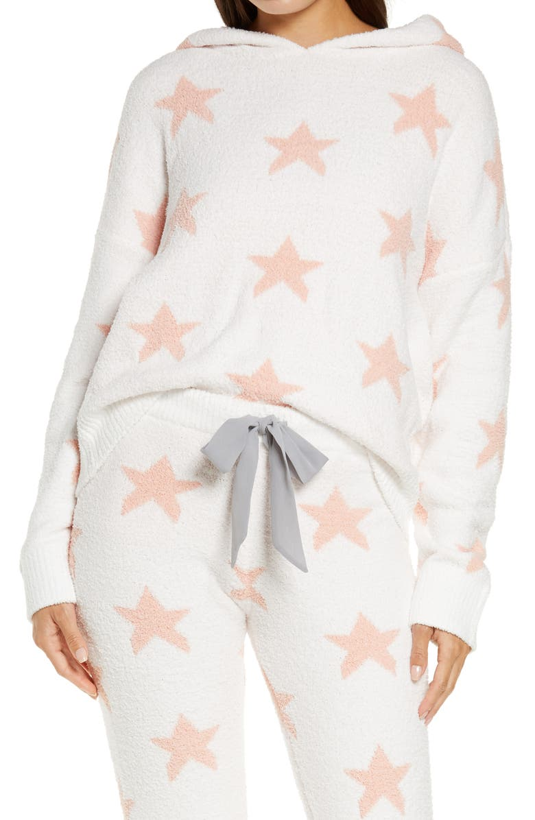 HONEYDEW INTIMATES Snow Angel Sweater Hoodie, Main, color, IVORY STARS