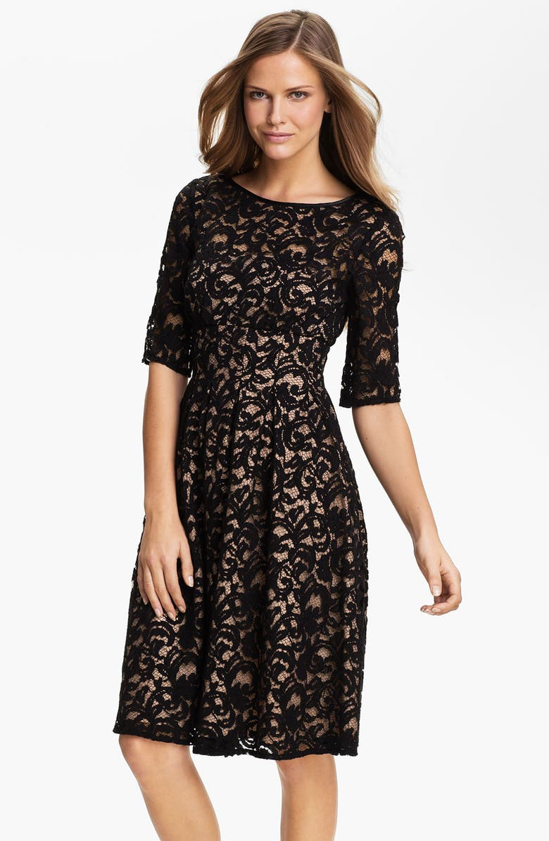 ADRIANNA PAPELL Lace Overlay Fit & Flare Dress, Main, color, BLACK/ NUDE