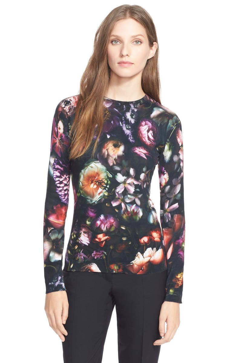 TED BAKER LONDON 'Noline'Shadow Floral Print Pullover, Main, color, 001