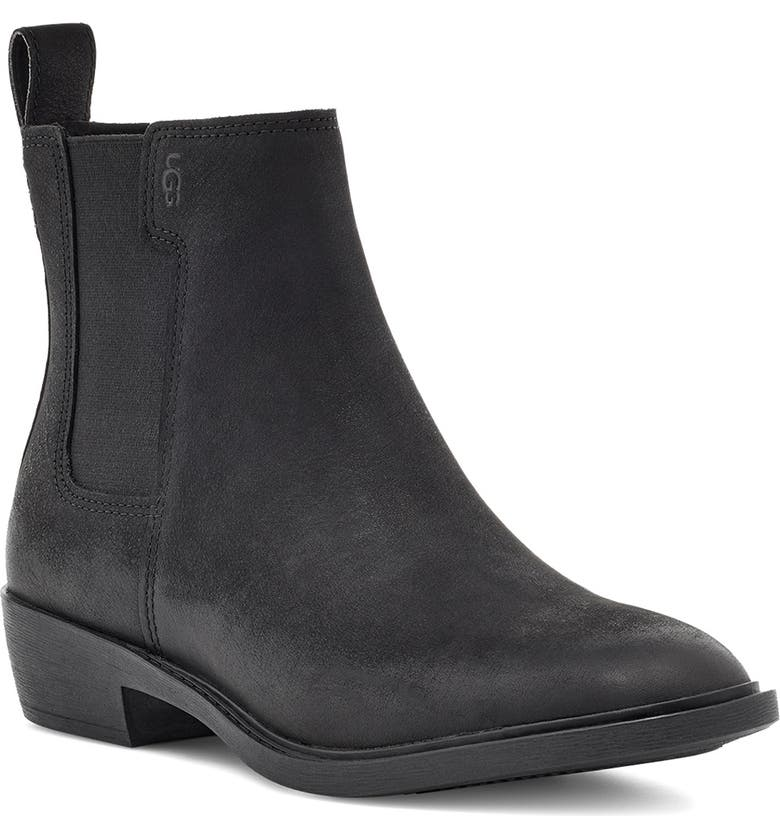 UGG<SUP>®</SUP> Emmeth Waterproof Chelsea Boot, Main, color, BLACK LEATHER