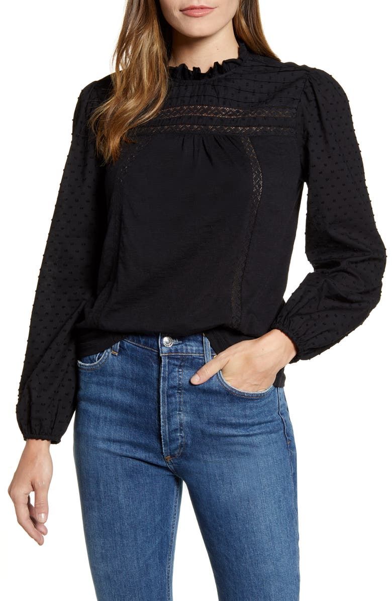 CASLON<SUP>®</SUP> Pintuck Lace Detail Long Sleeve Cotton Blouse, Main, color, 001
