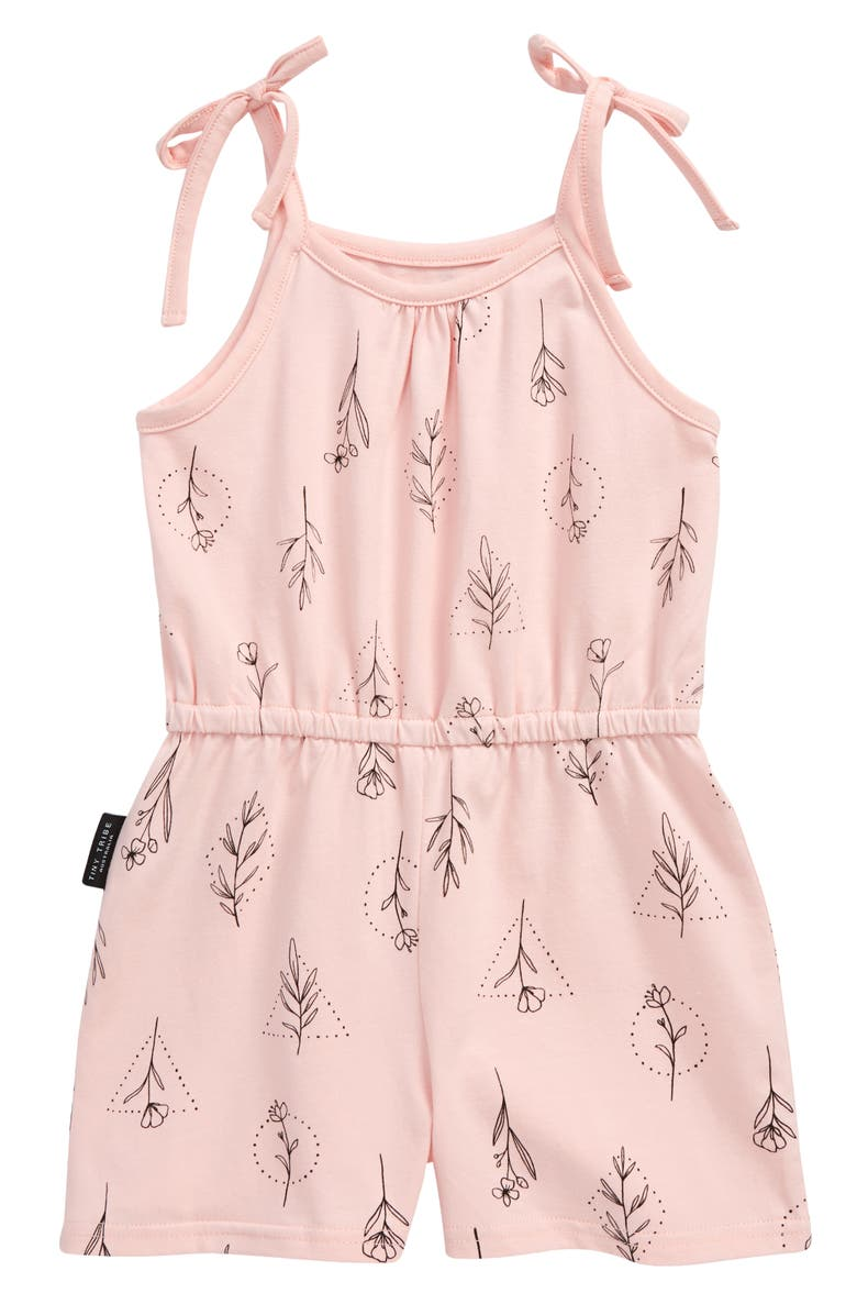 TINY TRIBE Kids' Flora Tie Shoulder Playsuit, Main, color, PINK