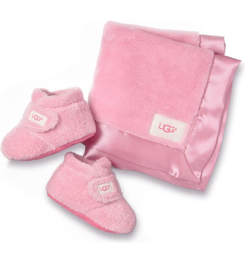 UGG<SUP>®</SUP> Bixbee Booties & Lovey Blanket Set, Main, color, BUBBLE GUM PINK