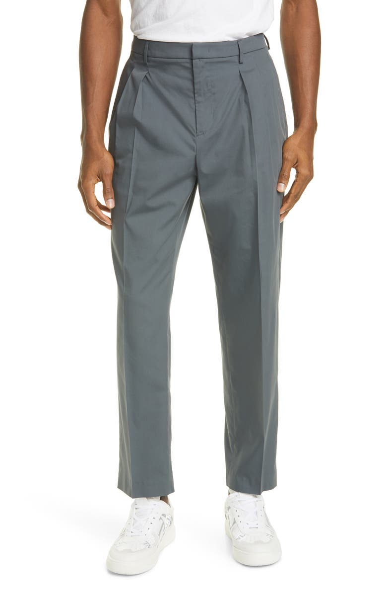 VALENTINO Pleat Front Pants, Main, color, GREY