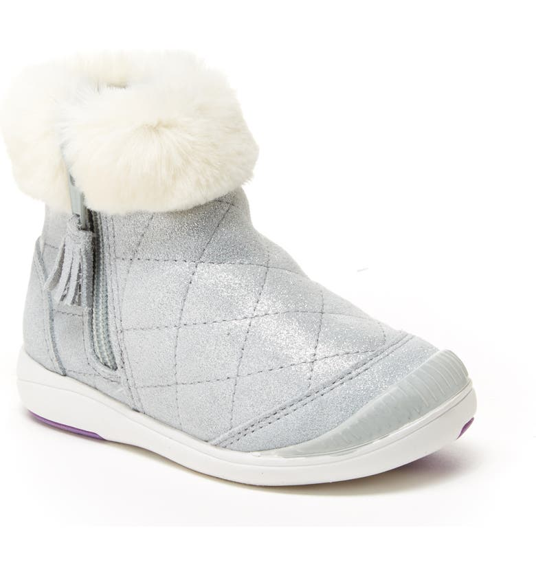 STRIDE RITE Chloe Faux Fur Quilted Bootie, Main, color, 040