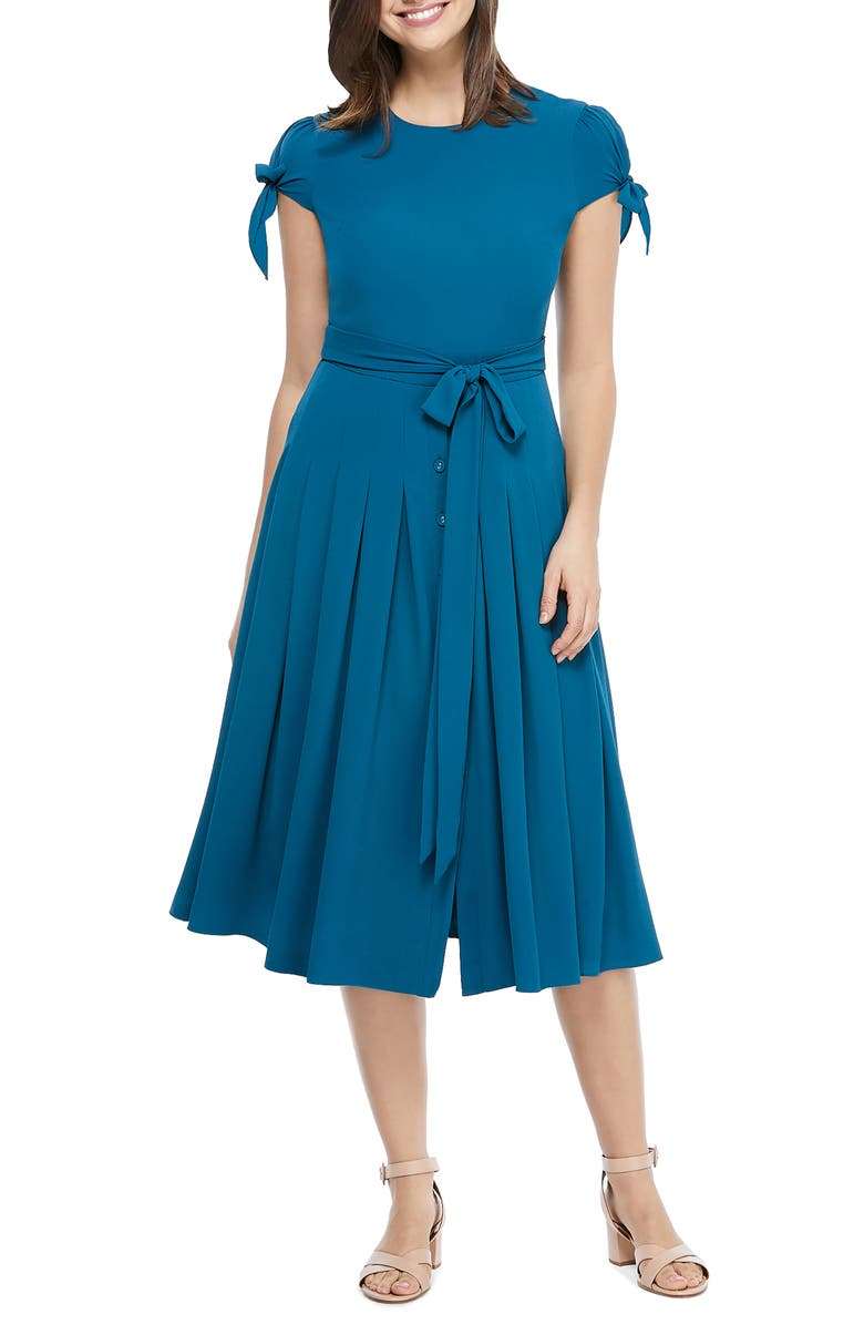 GAL MEETS GLAM COLLECTION Bette Pleated Midi Dress, Main, color, SPRUCE