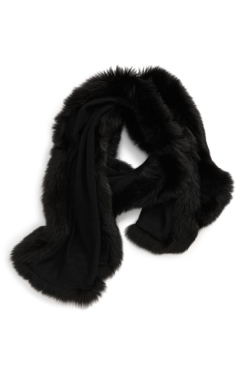 MAX MARA Aria Cashmere Scarf with Genuine Fox Fur Trim, Main, color, 001
