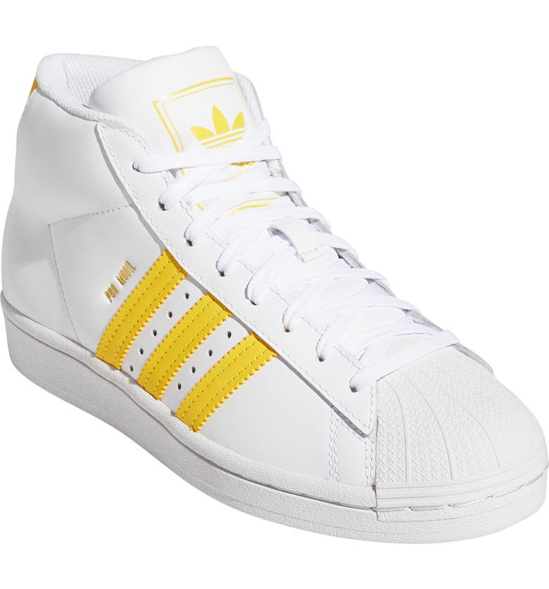ADIDAS Pro Model J Mid Top Sneaker, Main, color, WHITE/ WONDER GLOW/ GOLD FOIL