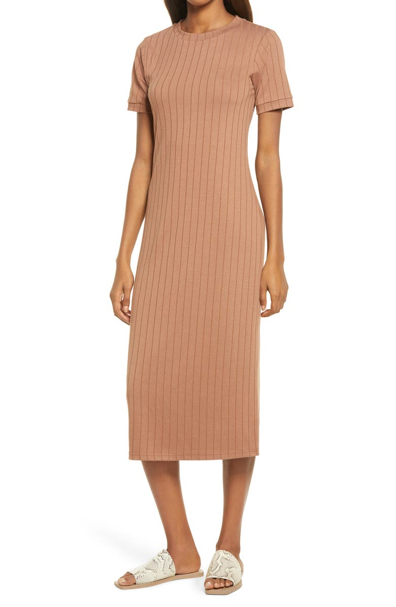 SANCIA The Romie Ribbed Midi T-Shirt Dress, Main, color, TOFFEE