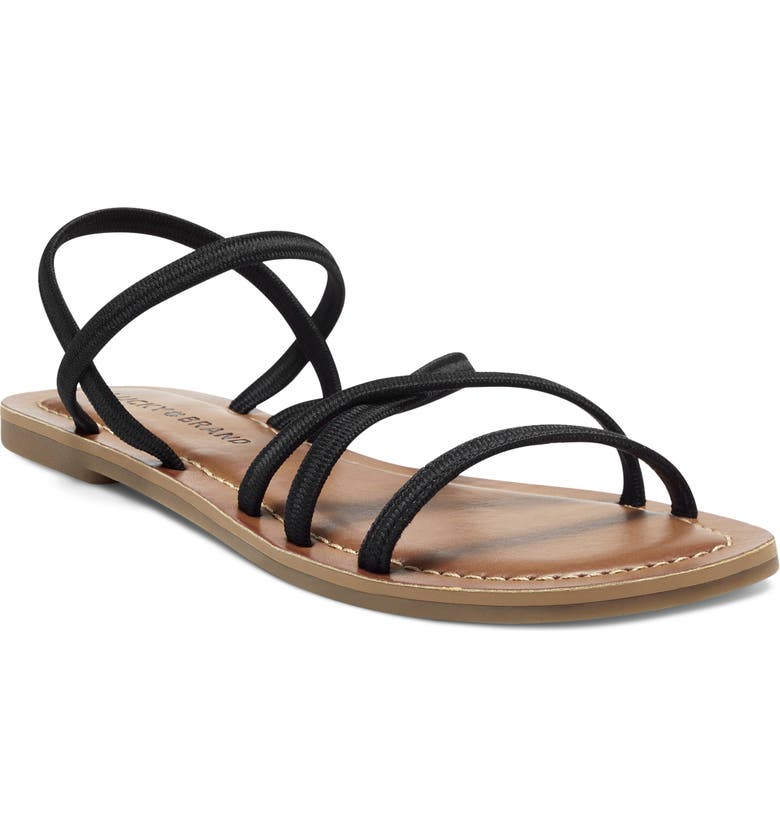 LUCKY BRAND Bizell Flat Sandal, Main, color, BLACK/ BLACK FABRIC
