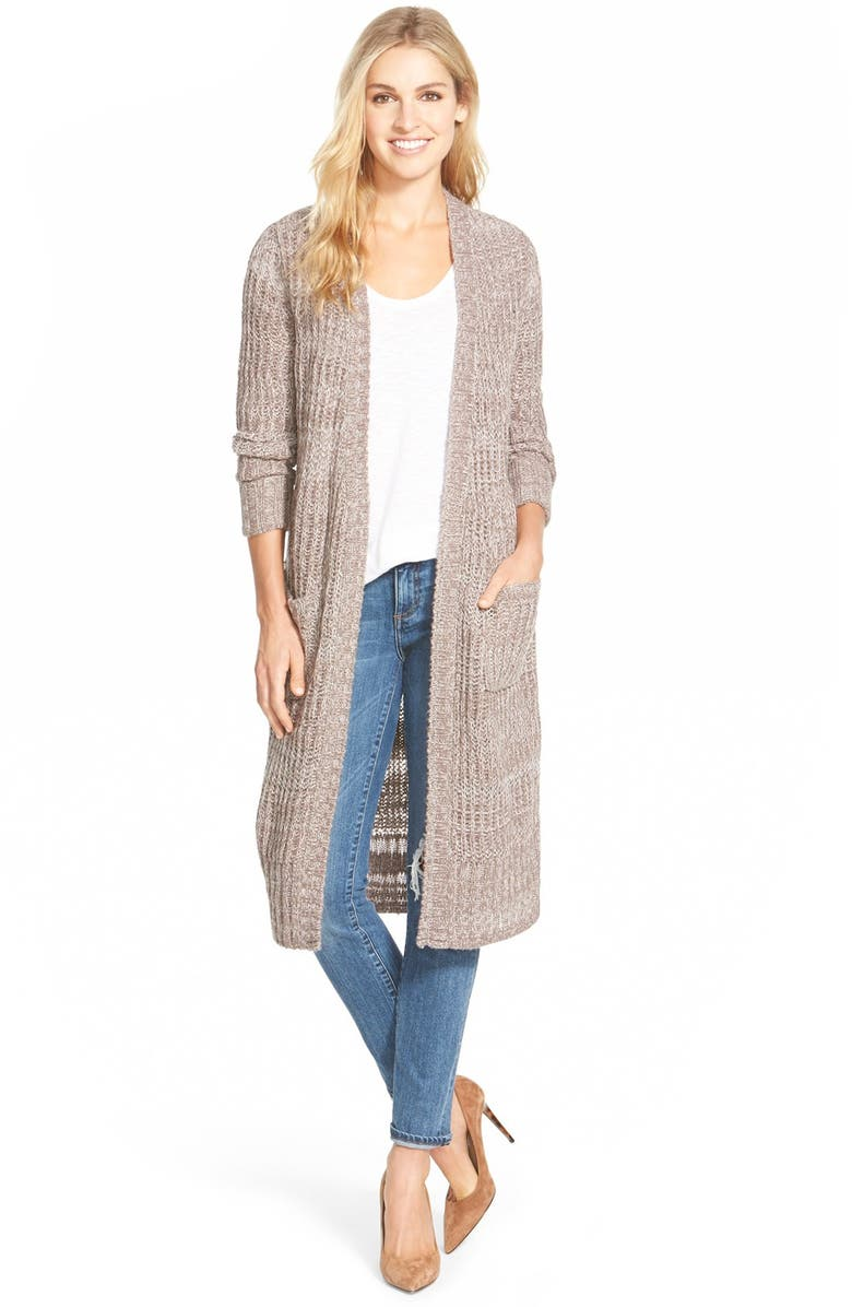 CASLON<SUP>®</SUP> 'Thick Thin' Long Open Front Cardigan, Main, color, 238