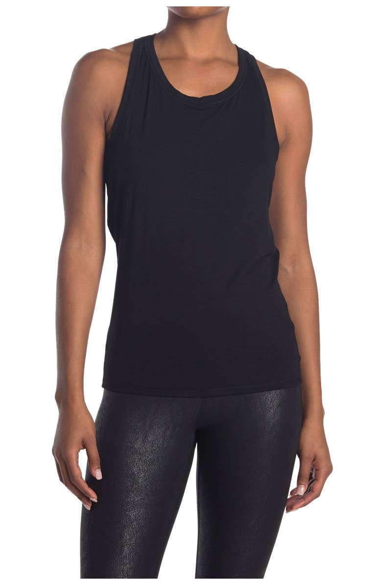 90 DEGREE BY REFLEX Racer Tie Back Tank Top, Main, color, BLACK