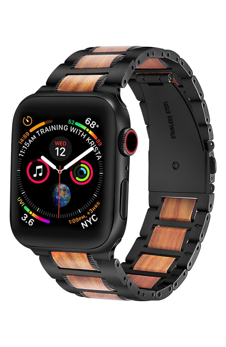 THE POSH TECH Stainless Steel & Wood Bracelet Strap for Apple Watch<sup>®</sup>, Main, color, BLACK-38/ 40MM