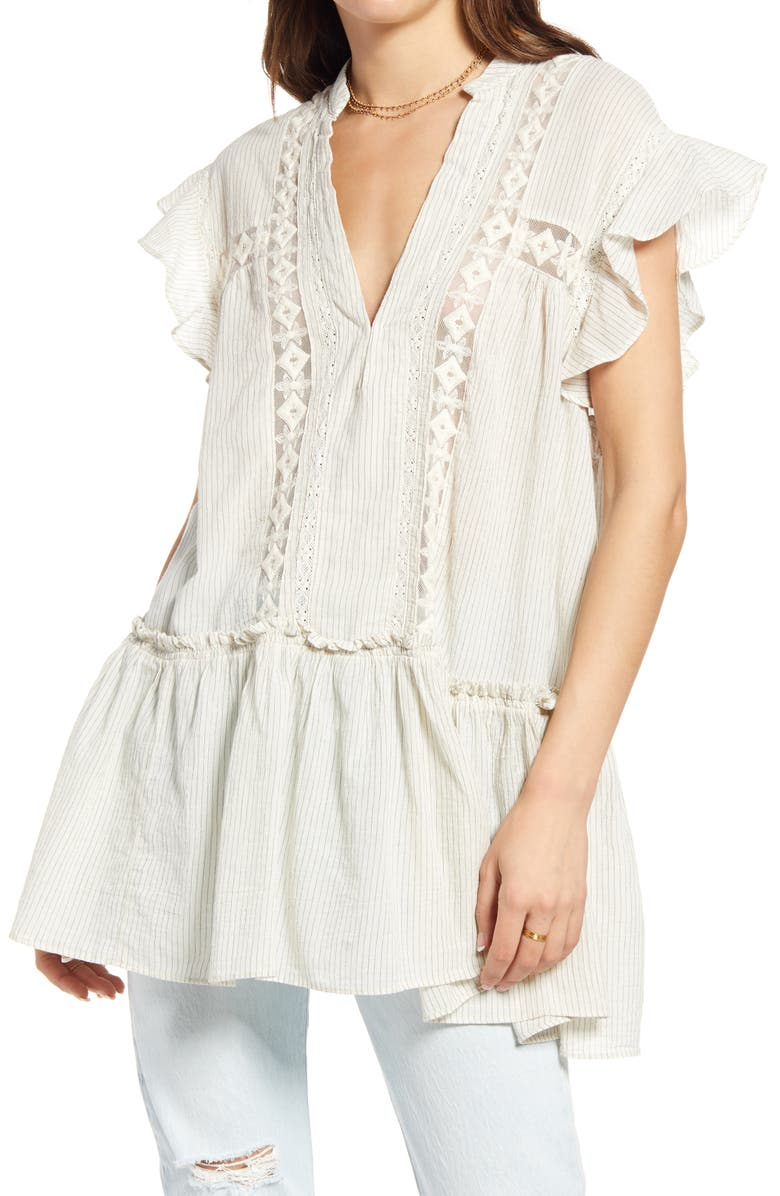 FREE PEOPLE Baby Blues Tunic, Main, color, CREAM COMBO