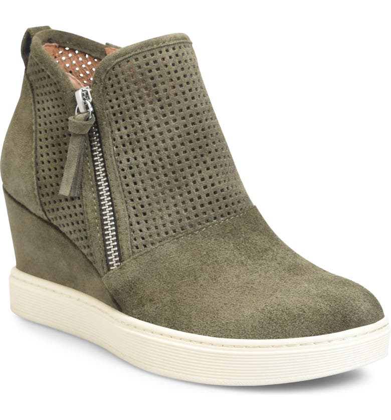SÖFFT Bellview Wedge Bootie, Main, color, ARMY GREEN