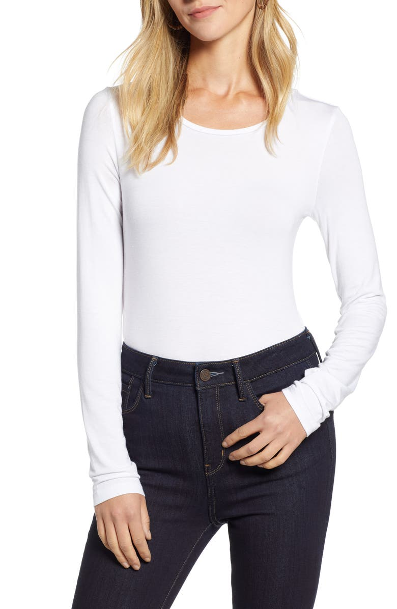 HALOGEN<SUP>®</SUP> Long Sleeve Modal Blend Tee, Main, color, WHITE