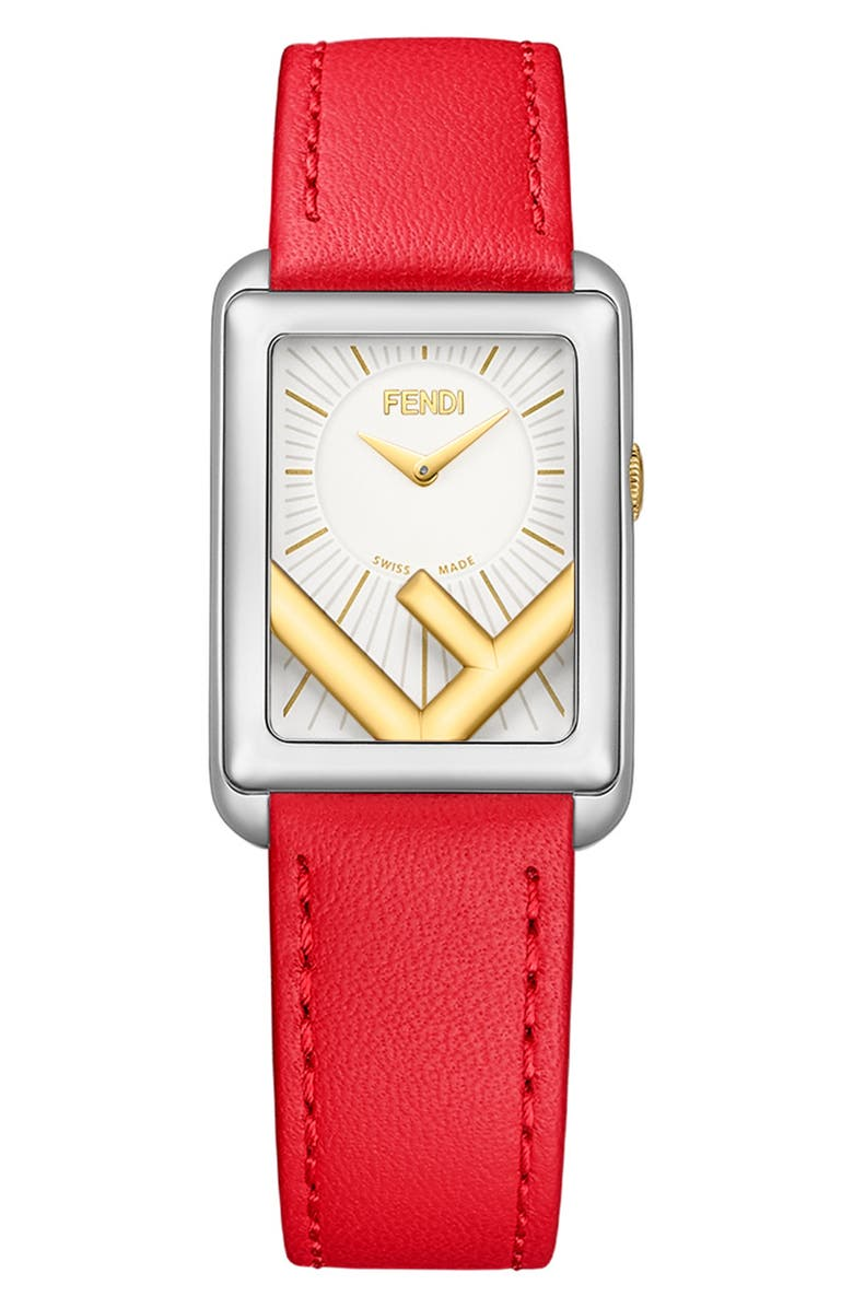FENDI Run Away Rectangle Leather Strap Watch, 22.5mm x 32mm, Main, color, RED/ SILVER/ GOLD