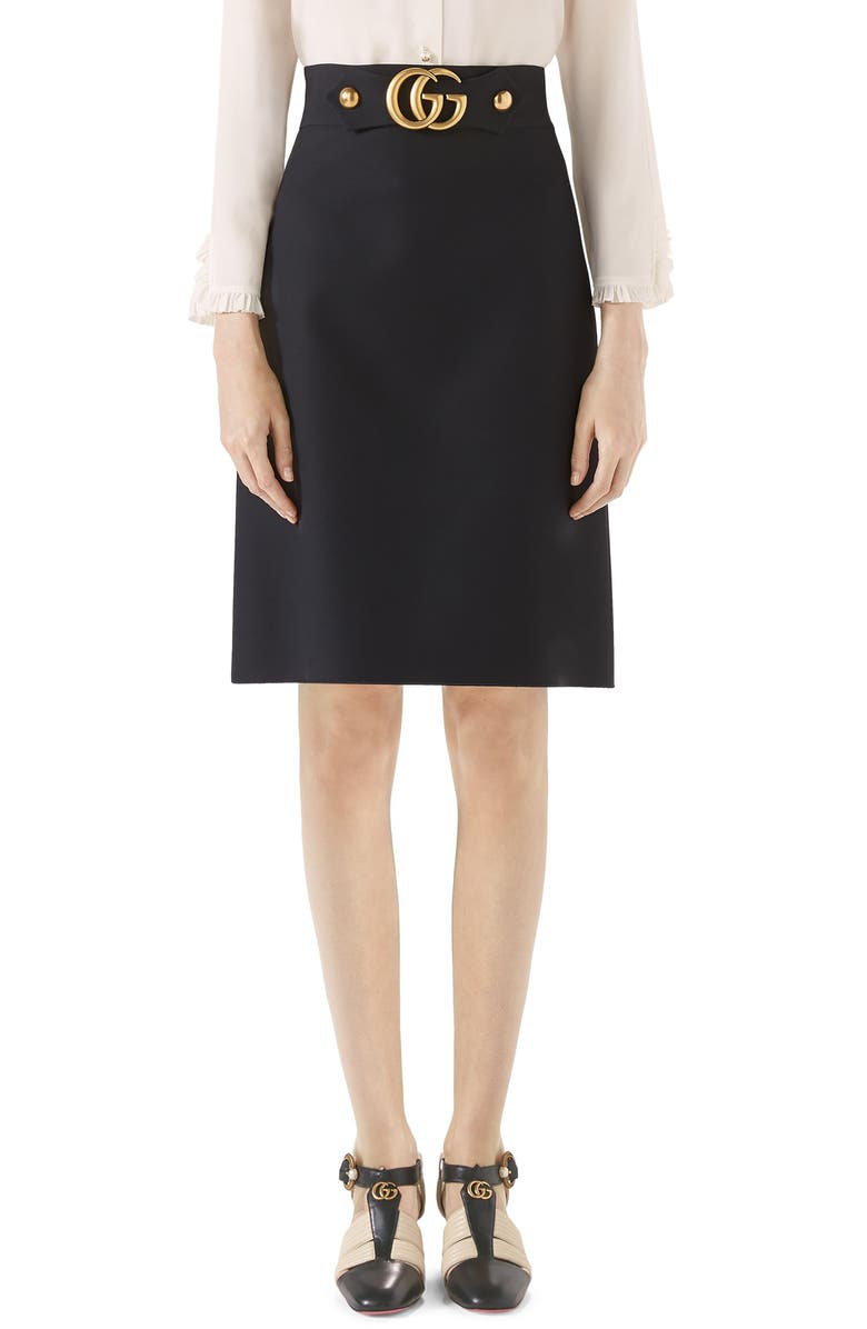 GUCCI Double G Wool & Silk Crepe A-Line Skirt, Main, color, 001