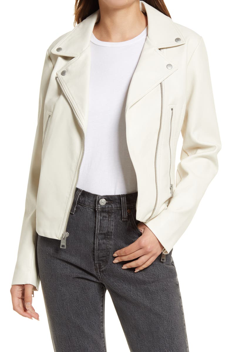 LEVI'S<SUP>®</SUP> Women's Faux Leather Moto Jacket, Main, color, OYSTER