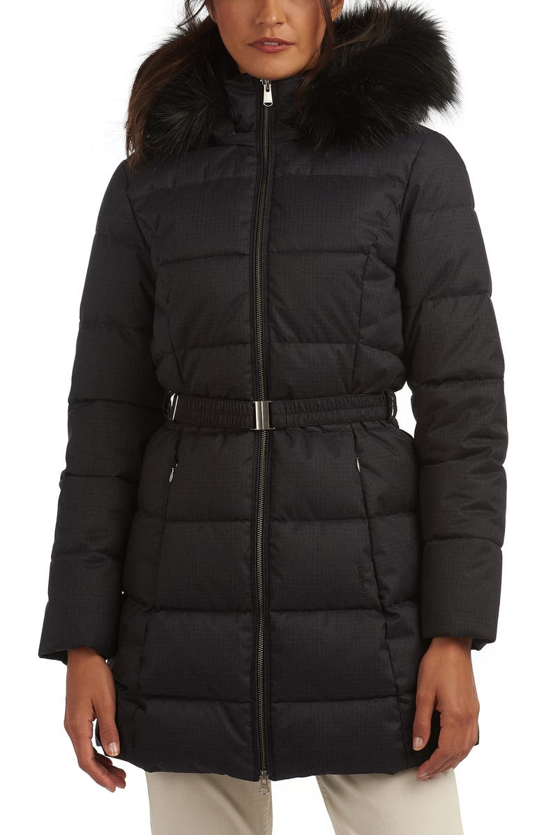 BARBOUR Oykel Hooded Puffer Jacket, Main, color, 001