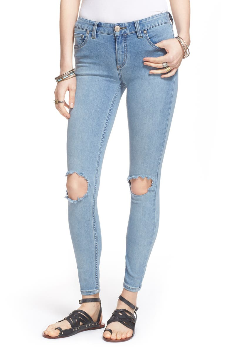 FREE PEOPLE Destroyed Skinny Jeans, Main, color, 400