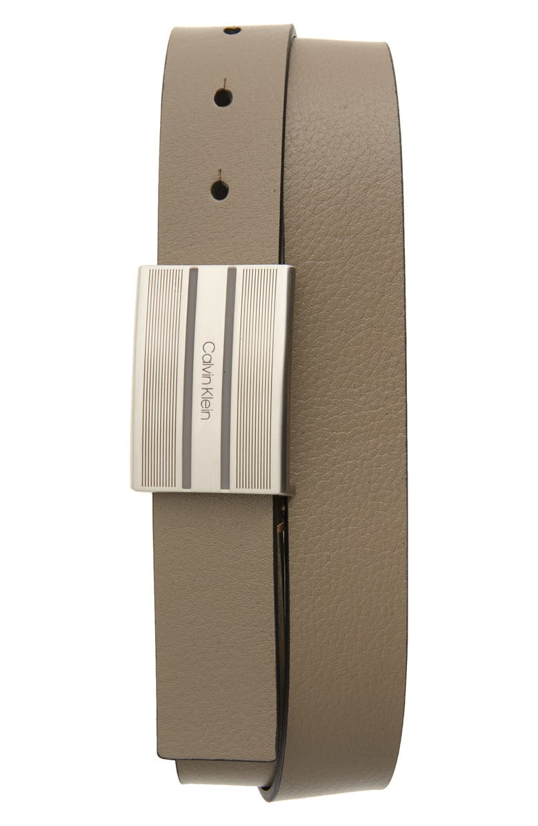 CALVIN KLEIN Faux Leather Belt, Main, color, 020