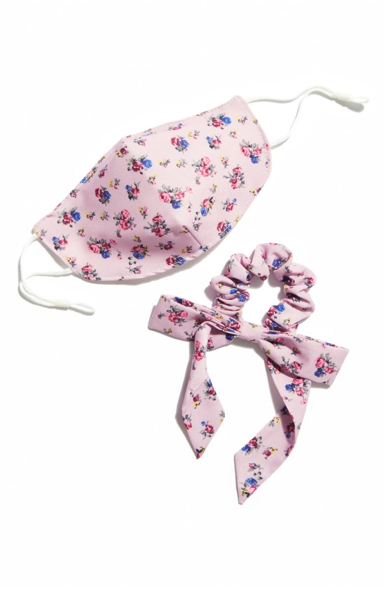 FREE PEOPLE Adult Face Mask & Scrunchie Bow Set, Main, color, LILAC