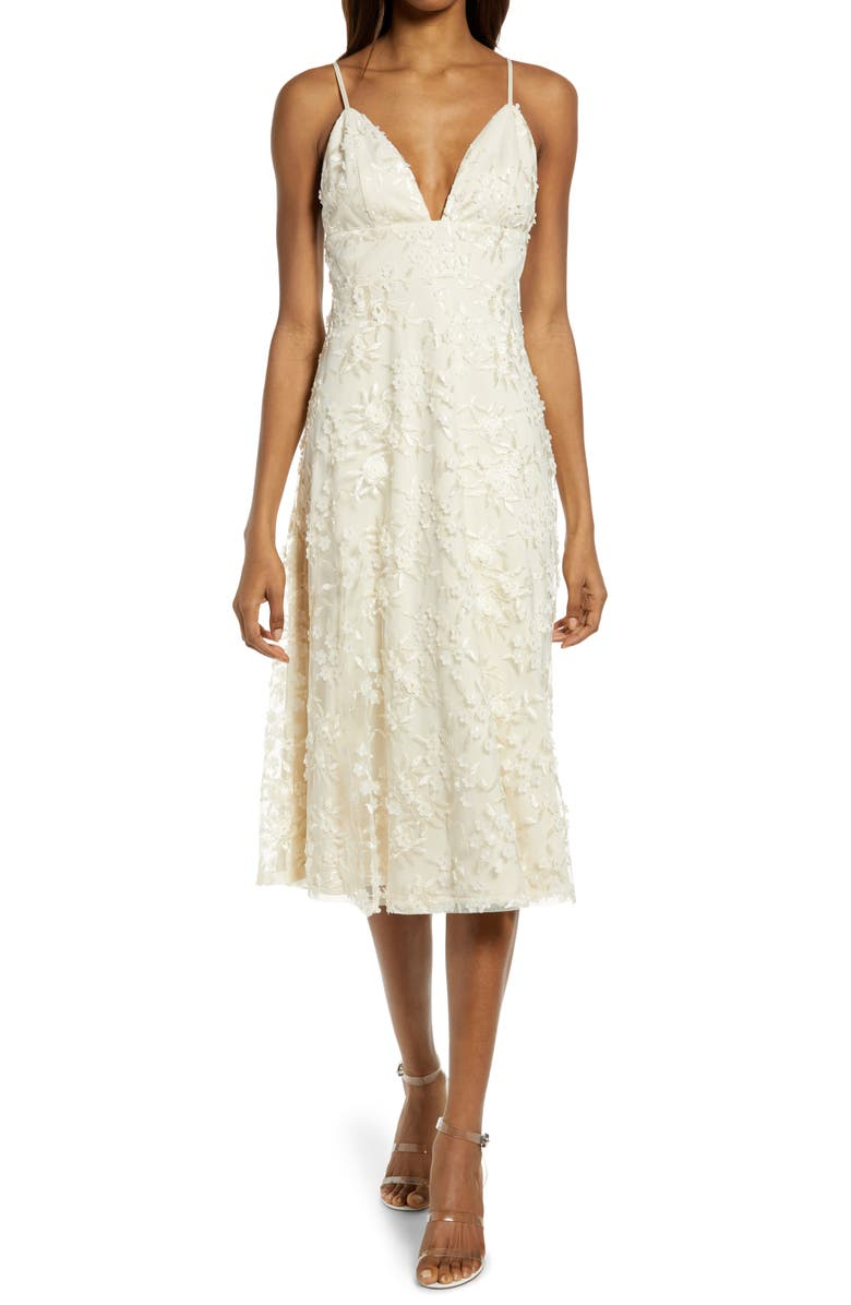 LULUS Flourishing Embroidered Lace Fit & Flare Dress, Main, color, CREAM