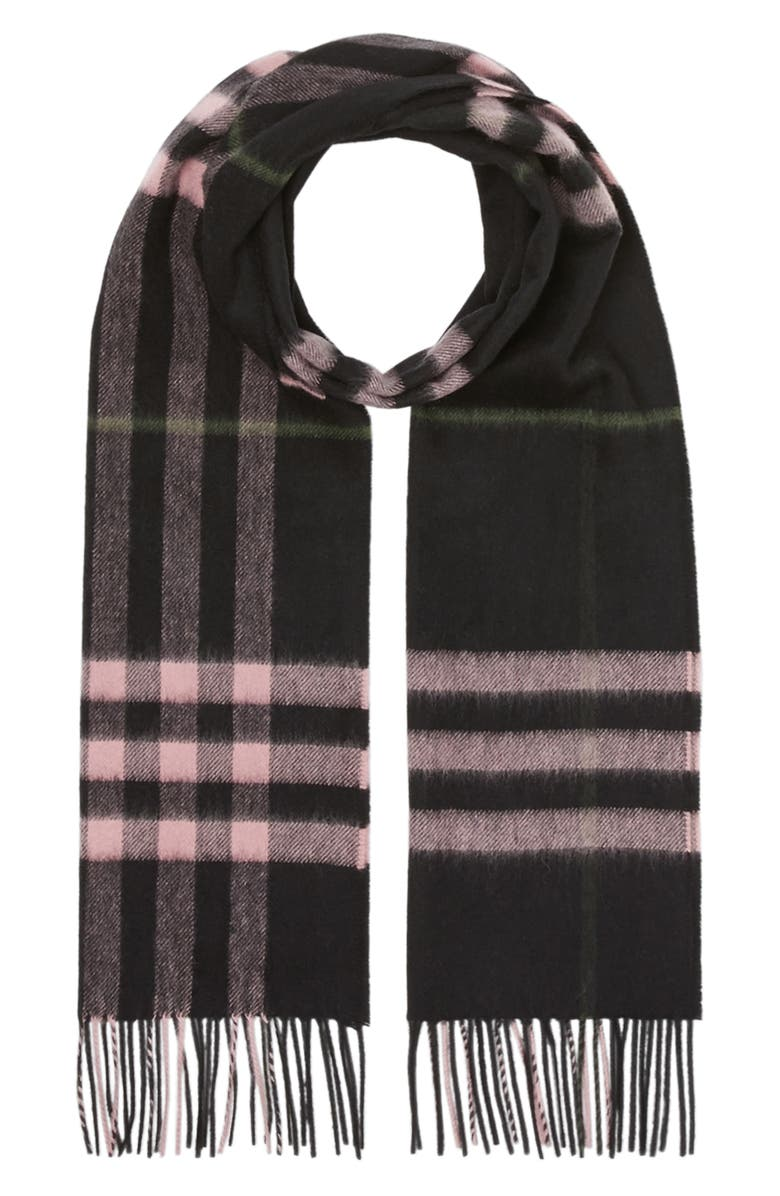 BURBERRY Giant Icon Check Cashmere Scarf, Main, color, BLACK / PEONY PINK