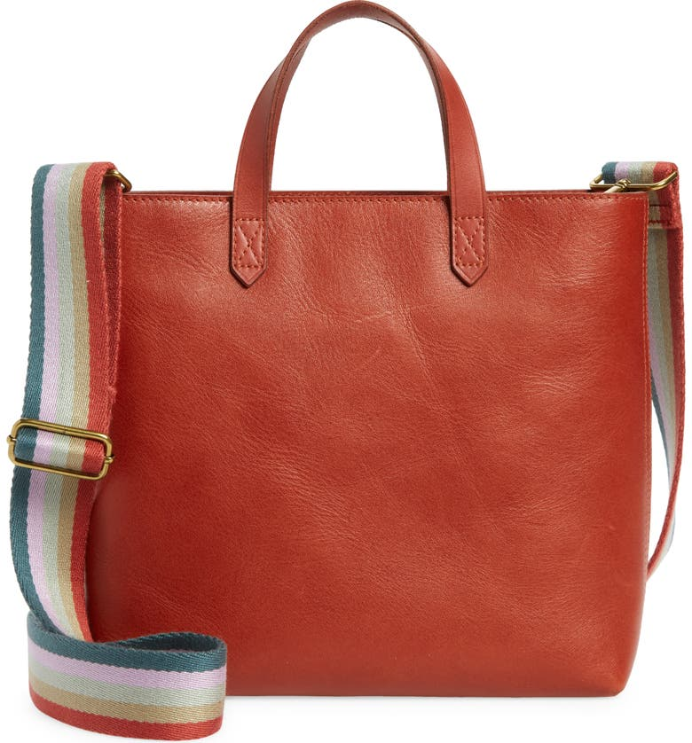 MADEWELL Small Transport Leather Crossbody Tote, Main, color, FADED RUST MULTI