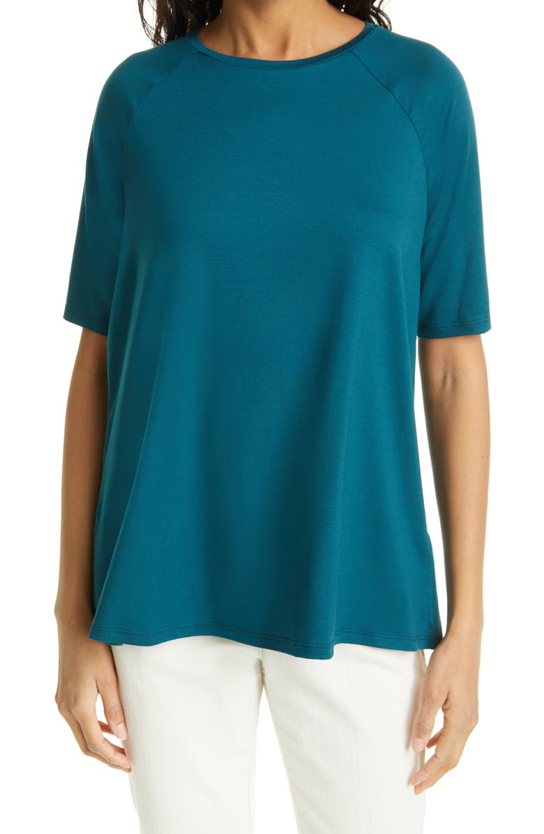 EILEEN FISHER Elbow Sleeve Top, Main, color, AEGEAN