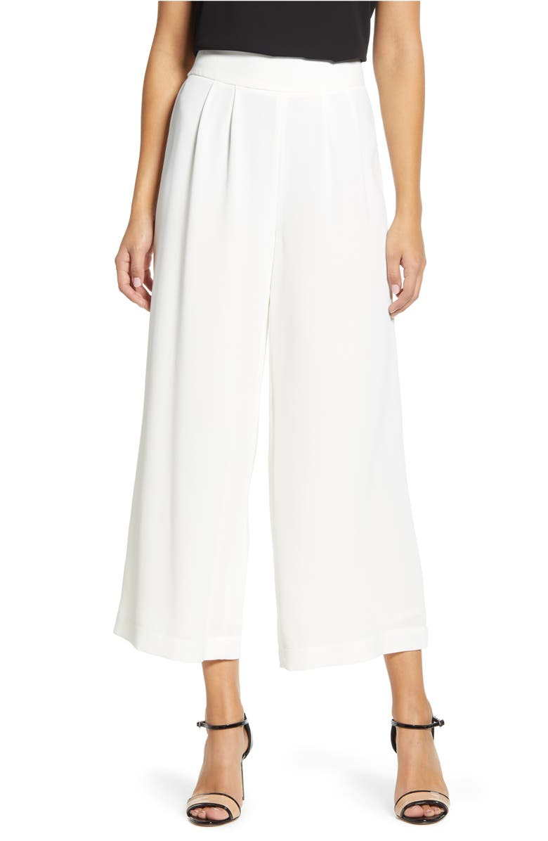1.STATE Wide Leg Crepe Trousers, Main, color, SOFT ECRU