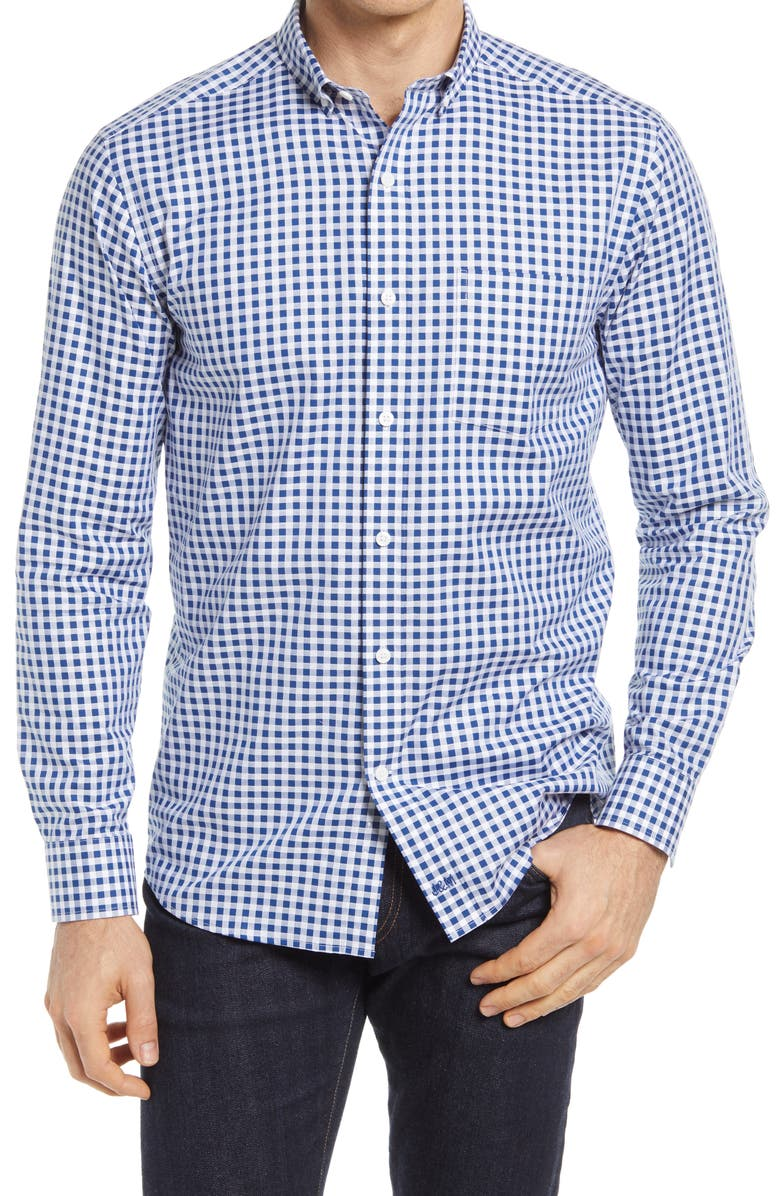 JOHNSTON & MURPHY Gingham Button-Down Shirt, Main, color, NAVY