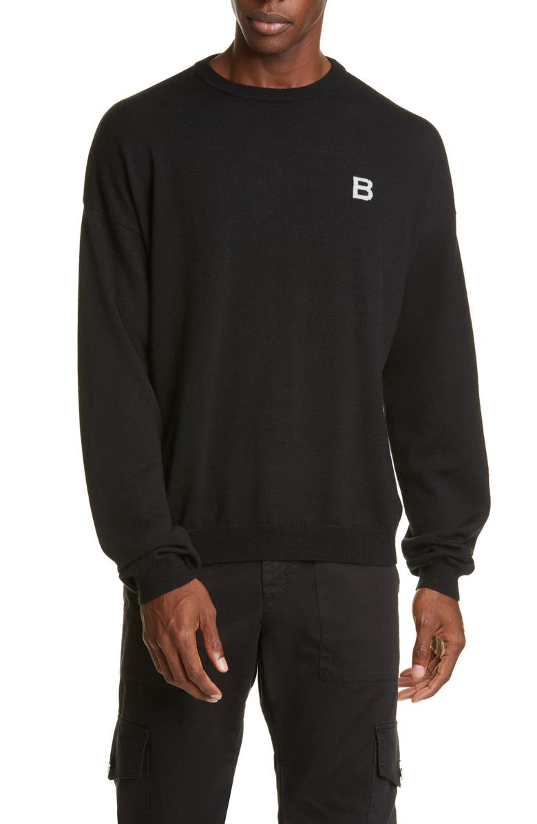 BILLY LOS ANGELES Little B Crewneck Wool & Cashmere Sweater, Main, color, 001